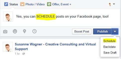 Scheduling - Facebook page